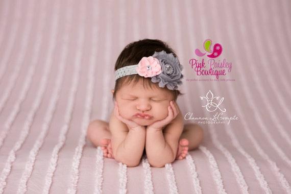 Gray Pink Baby Headband - Baby Headbands - Baby Hair bows - Infant Headband - Silver Headband Baby Bows - Baby Girl Photo Prop - Baby props