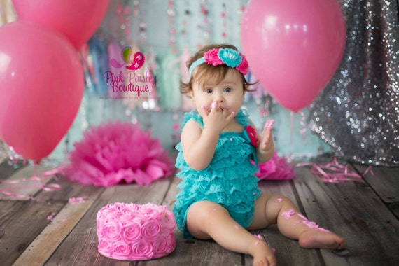 3, 4 or 5 PC Set, Baby Ruffle Rompers - Baby Romper - 1st Birthday Outfit - Baby Dress - Baby Girl Birthday Outfit Baby Headband Romper Set