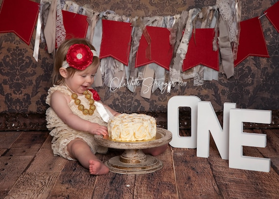 Baby Girl 1st Birthday Outfit - Cake Smash Outfit- Christmas  party - Baby Romper - Dark Ivory red gold Cake Smash Outfit
