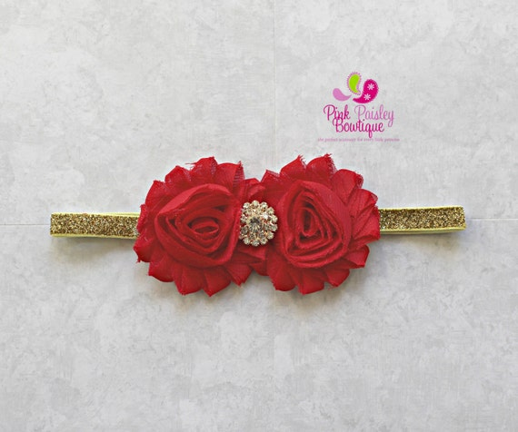 Red Headband - Red Baby Headband - Baby Hair bows - Infant Headband - Red Headband - Gold baby headband - Baby bows - Red and Gold Bows