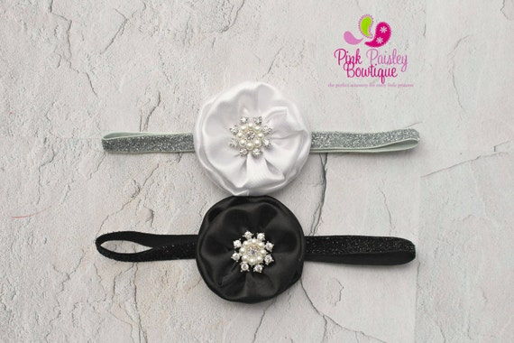 Baby Headbands - You Pick 1 - Black Headbands-  Infant Headbands-  Baby Newborn Photo Outfit - Baby Bows - Baby Hair Accessories