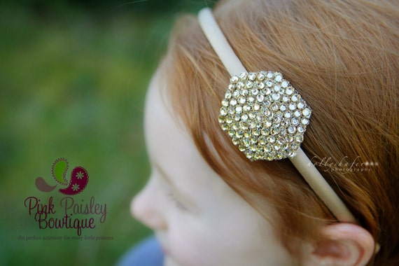 Toddler Headband - Toddler Hair Accessories - Gold Baby Headband - Baby Girl Headbands - Baby Hairbows - Gold Hair Bows - Glitter Gold Bow