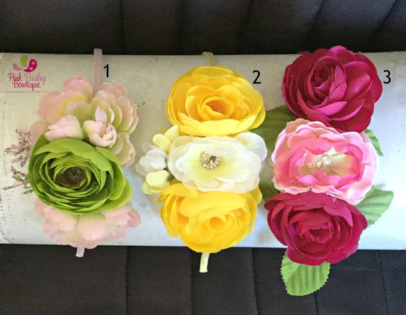 Baby headbands, Baby girl headband,floral nylon headband, flower crown headband, nylon headbands,Newborn headband, Infant Headband,Hair bows