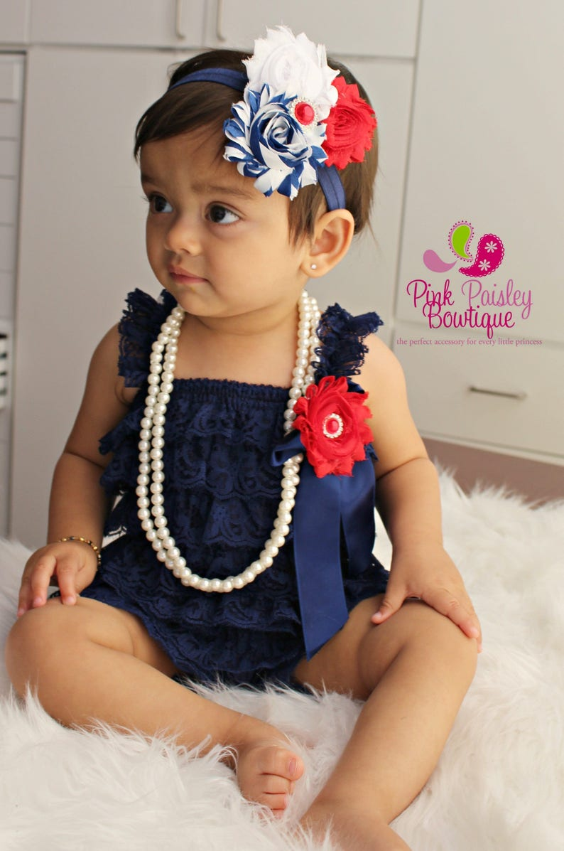 0d01af269d75 Petti Lace Romper Ruffle Rompers Baby Romper Navy Blue