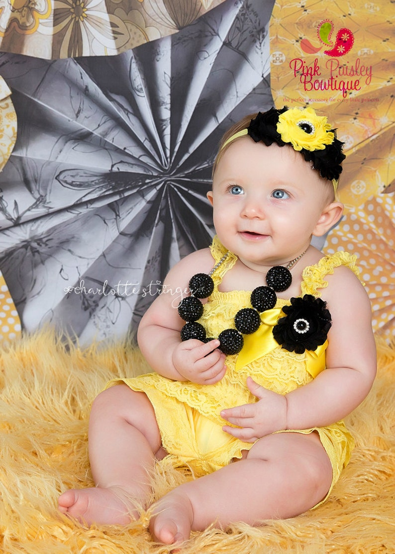 Baby Girl Clothes -Baby Romper Yellow Black Birthday Baby Girl 1st Birthday Outfit Bumble Bee Birthday Outfit Bee Birthday Party