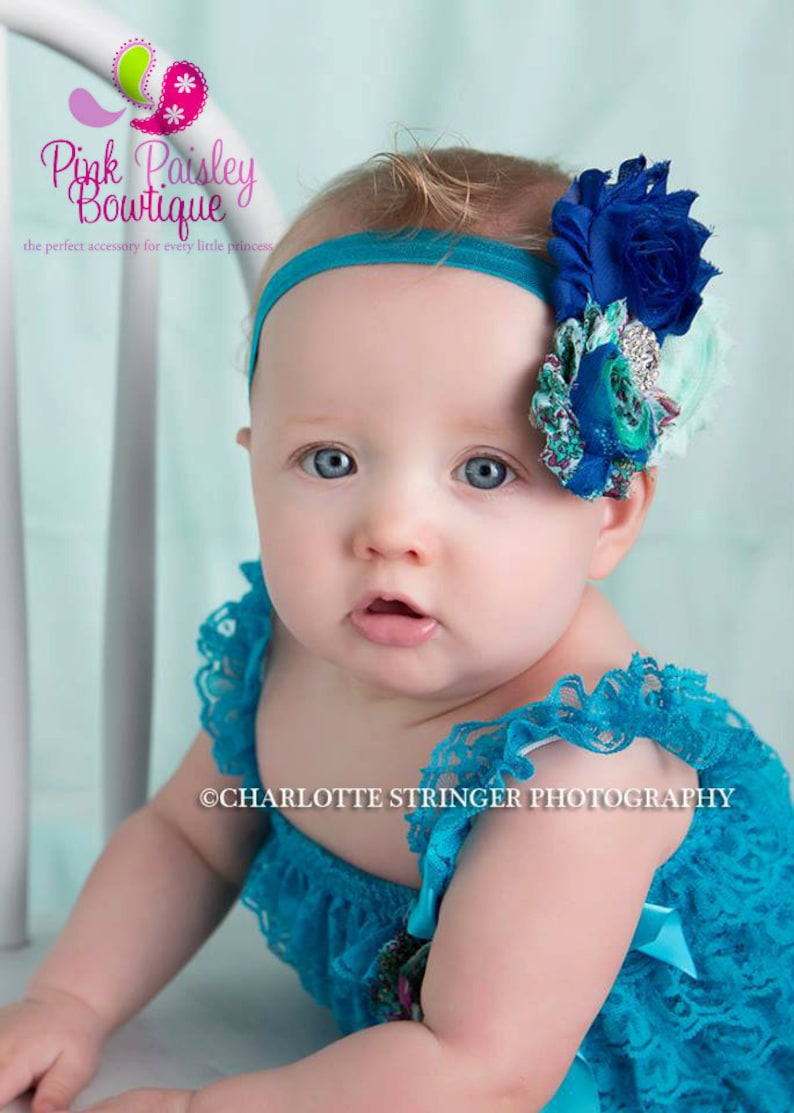 9dc93c45c Blue petti lace romper and headband 3 pc SET Baby girl 1st   Etsy