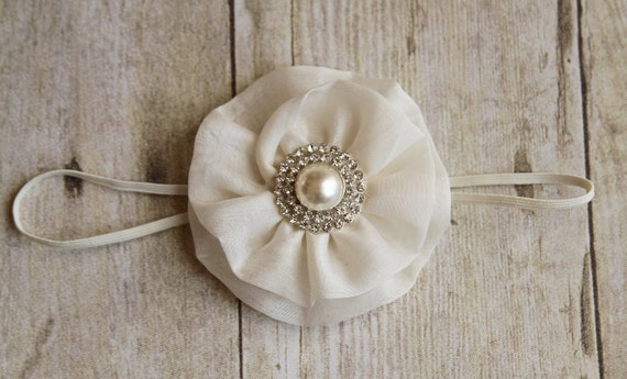 Baptism headband - Christening Baby headband - Flower Girl Headband - Off White Flower Headband - Baby Girl Headband