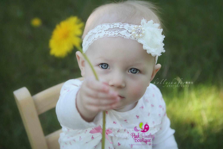 Shabby Flower Stretch Lace Bow Baby Girl Kid Infant Headband Christening Photo