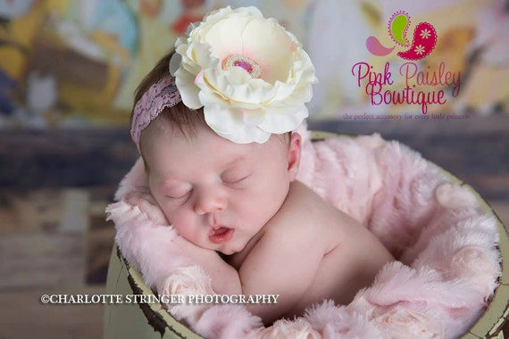 Baby Headbands - Baby Hair Bows - Baby Girl headband - Infant Headband - Pink Flower Headband - Baby Hair Accessories - Pink Baby Bows