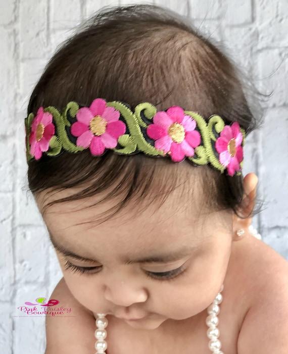 Pink Halo Baby Headbands. Newborn Photo Prop. Baby Bows. Baby Girl Bows. Baby Headband. Baby Hair bows. Baby Hair Accessories. Baby hairbows