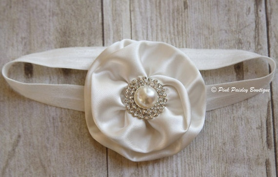 Ivory Baby Headband - Baptism Headband - Christening - Baby Girl Flower Headband - Flower Girl Headband. Baby Hair Accessories