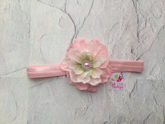 Baby Headbands -  Pink Flower Headband - Infant Headbands - Baby Girl Headbands - Baby Hair Accessories - Toddler Headbands
