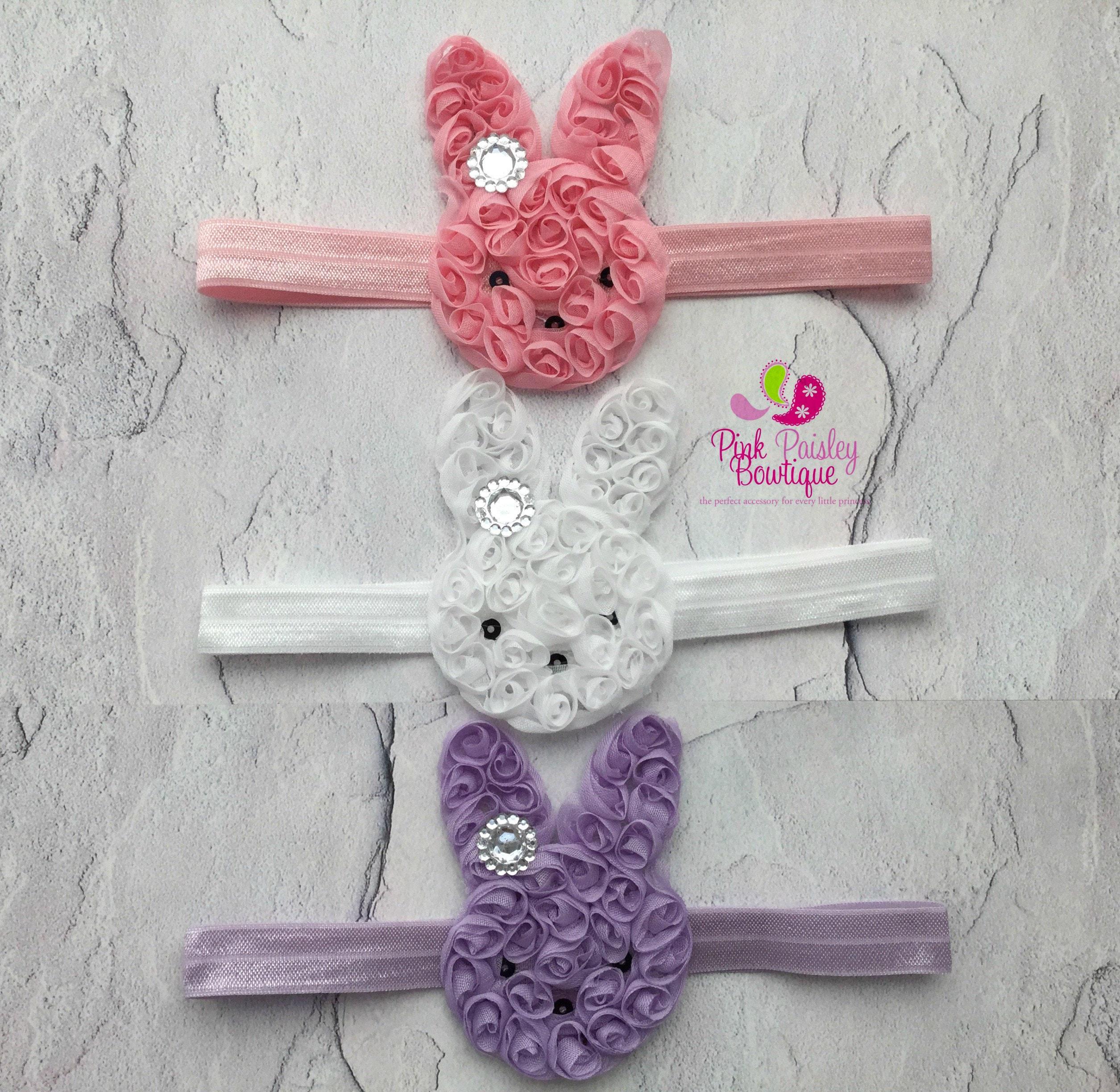 Easter Hair Bow Easter Bunny Hair Bow White Pink Easter Hair bows Bunny Hair Bow Easter Bunny hair bows Easter Baby headband Easter Headband