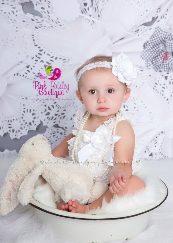 33f4f1a0d097 Baptism Outfit 4 or 5 pc SET White Petti Romper Baby Girl