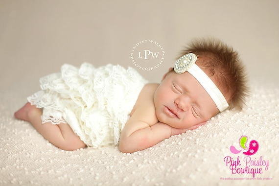 Newborn Take Home Outfit - 2 or 3 PC Baby Baptism Outfit - Christening Outfit -  Ivory Petti Romper- Baby Rompers - Baby Headband and Romper