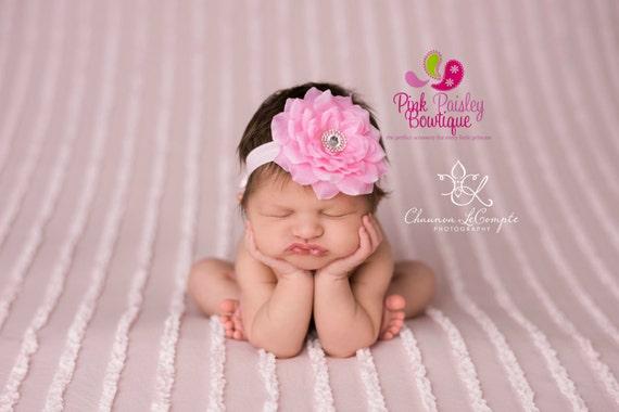 Newborn Headbands - Baby Headband - Light Pink Headband - Baby Hairbow - Infant Headband - Toddler Headband - headband baby - Baby bows