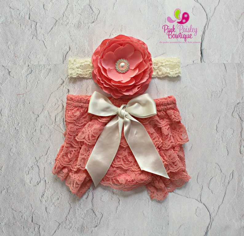 Cake smash outfit Baby Ruffle cover Baby Headband and Bloomers- Baby Hospital Photos Baby Diaper cover Newborn Photo Shoot Outfit