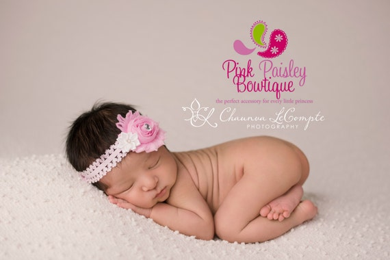 Pink Shabby Baby Headband - Baby Girl Headbands - Baby Hair Accessories - Infant Headband. Newborn Headbands. Baby Bows. Easter Headband