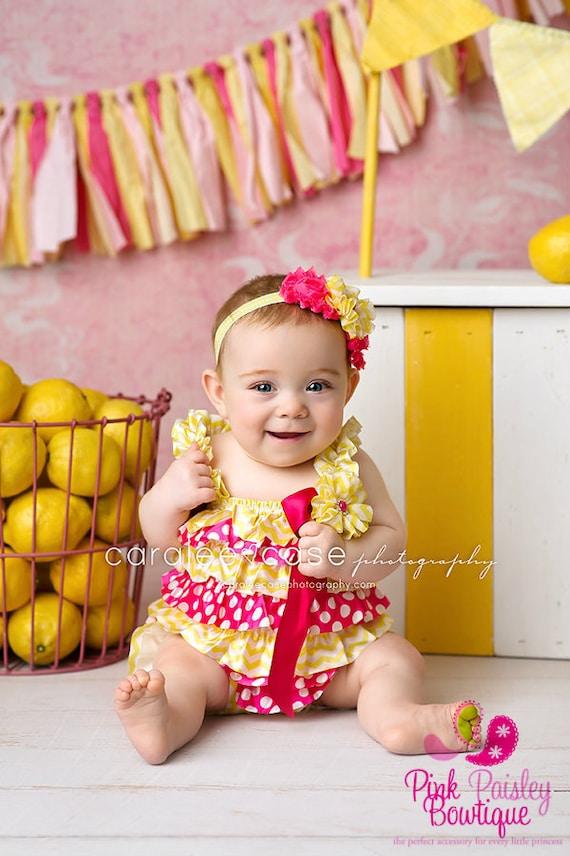 Pink Lemonade 1st Birthday- Yellow & Pink Baby Romper- Baby Girl Rompers -Ruffle Rompers - 1st Birthday Outfit Sunshine Birthday Cake Smash
