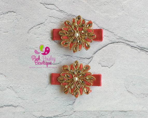 Coral Flower Hair Clip - Set of 2 clip , Baby Hair Clips - Baby Headband -