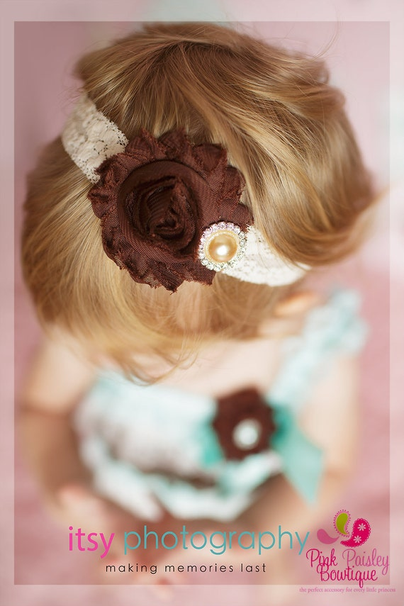 Brown Shabby Baby Headband - Baby Girl Headbands - Baby Hair Accessories - Infant Headband. Newborn Headbands - Baby Hair Bows - Fall Bows