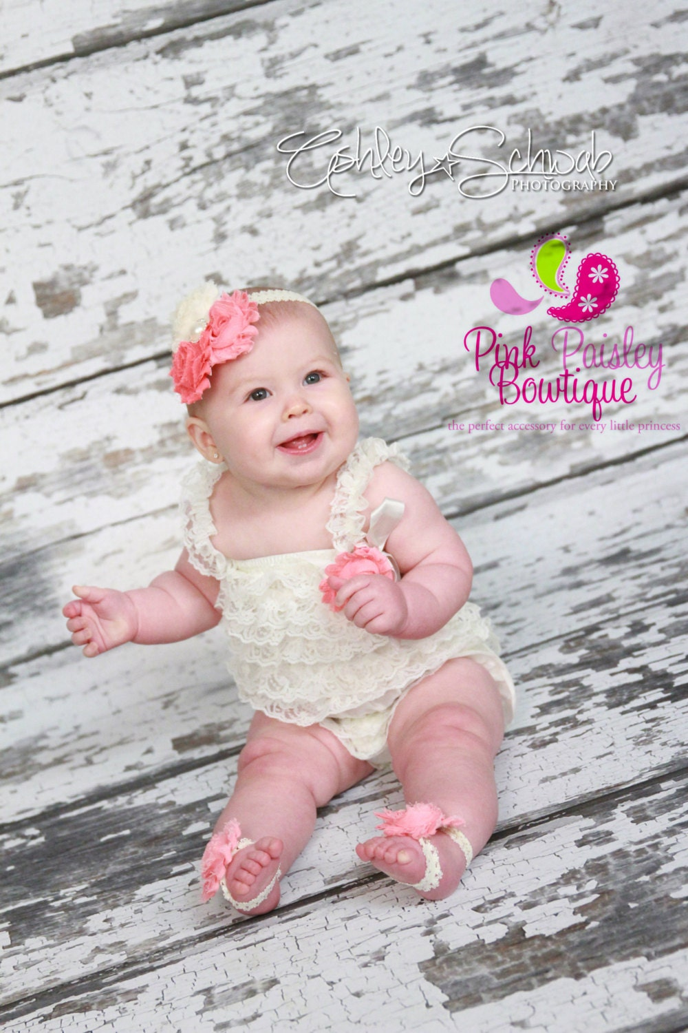 b67b5a584c31 Ivory petti lace romper and headband 3