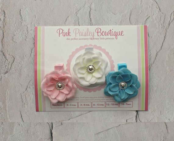 Baby Hairclips.. Set of Three Hairclips..Itty Bitty Bows..Baby Hairbows..Baby Bows Headband...Pink Hairclip