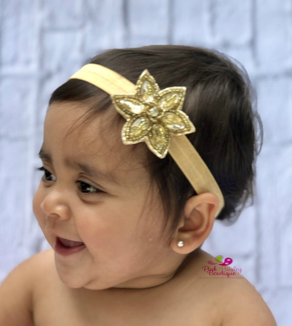 Baby Headband Set - Gold & Silver Headband - Infant Headbands - Baby Girl Headbands - Baby Hair Accessories -Newborn Headbands Baby HairBows
