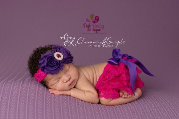 Ruffle Diaper Cover - 1st Birthday Baby Lace Bloomer Set- Baby Headband Newborn Photo Outfit- Cake smash outfit-Newborn Ruffle Diaper cover