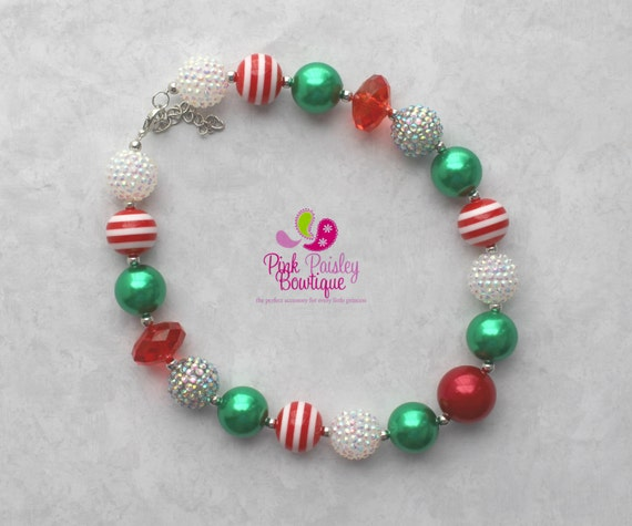Baby Girl Chunky Necklace Christmas Bubble Gum Necklace, Santa Photo Necklace Photo Prop Necklace Holiday party Cake smash, Stocking Stuffer