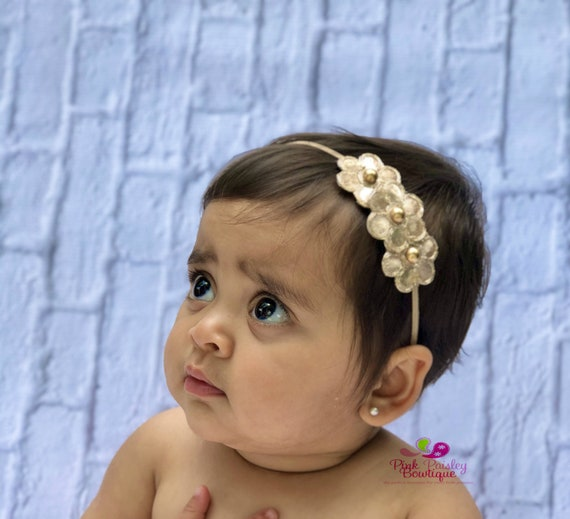 Light Gold Headband - Gold Infant Headband - Baby Girl Headbands- Newborn Headband -Hair Accessories-- Gold Hair Bows - Baby Bows - Wedding