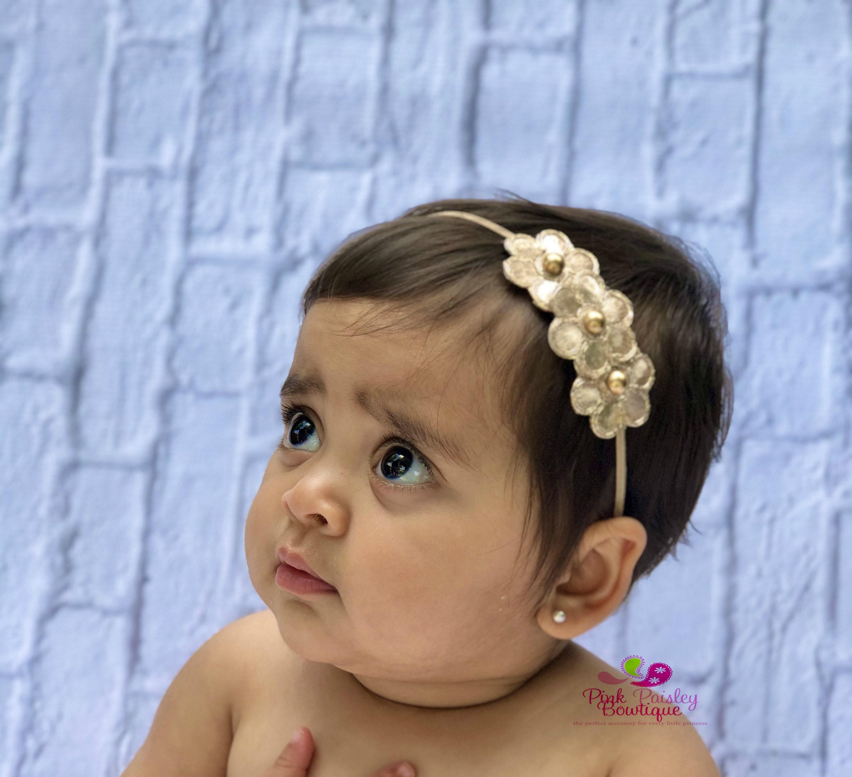 Baby Girl Headband Flower Headband Infant Headband Baby Headband Newborn Headband Pink /& Gold Headband Light Pink Headband Baby Bow