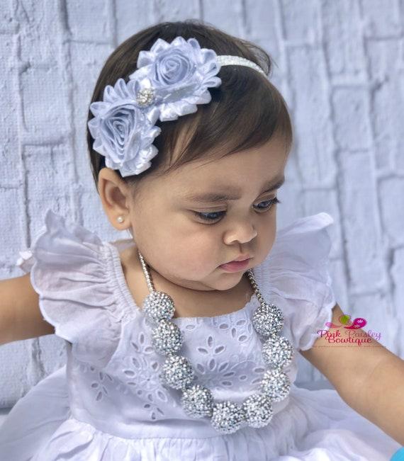 SILVER Bubblegum necklace & headband set Chunky bubbleGum necklace set, chunky baby necklace, girls sparkle necklace, 1st Birthday Necklace