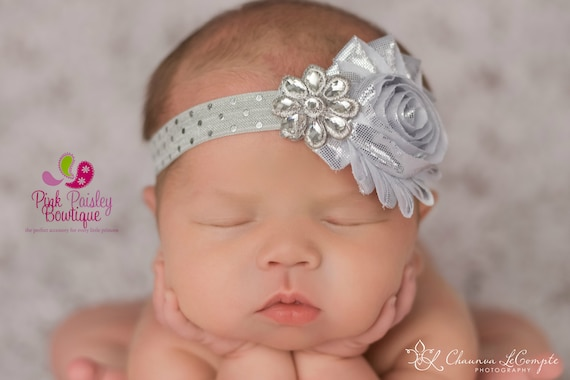 Newborn Headband, Gray headband, Silver Baby Hairbows, Baby Bows, Silver Princess Birthday, Baby Girl Headbands, Silver Hairbows, Gray