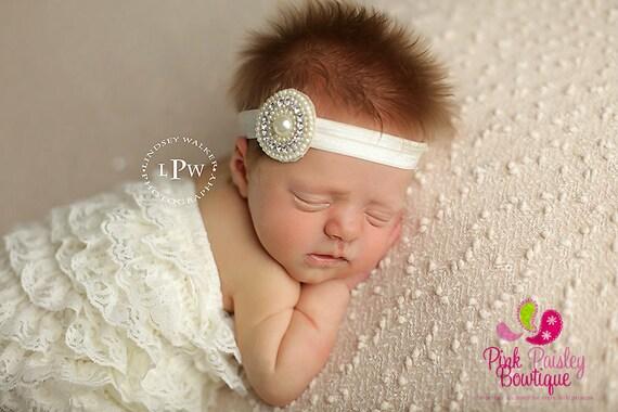 Baptism headband, Baby headband, Christening headband, baby girl headband, Ivory baby headband, Hairbow headband, baptism hair bows