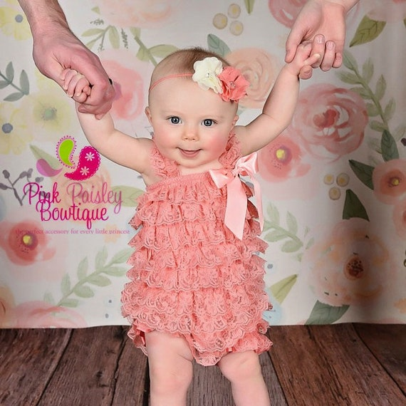Baby Girl Coming home outfit 2PC - Take Home Outfit - Coral Romper- Vintage Baby romper. Baby Girl 1st Birthday Outfit. Newborn Clothes.