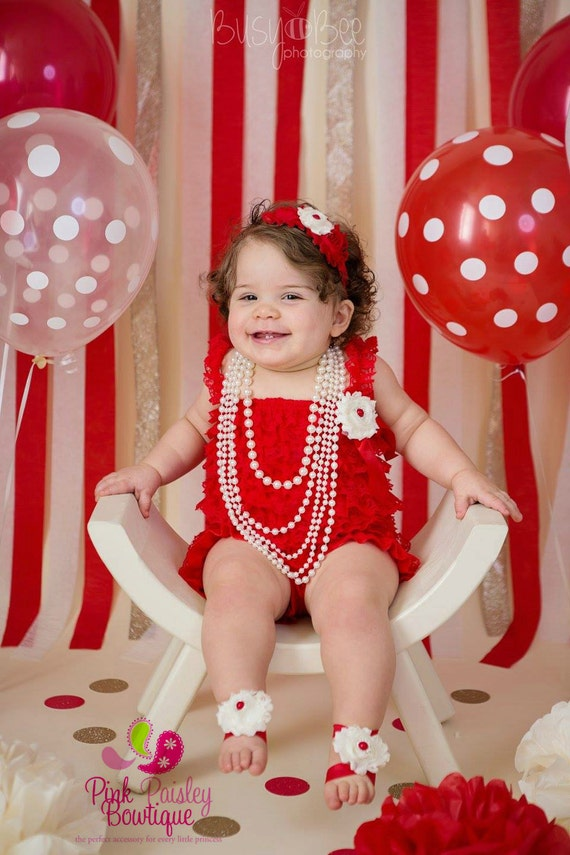 Elmo 1st Birthday Outfit - Baby Girl Clothes, 1st Birthday Dress, Baby Girl Cake Smash Photo, Baby Girl Birthday Outfit, Red & White Dress