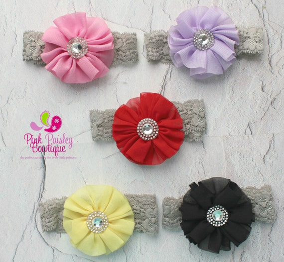 Baby Headbands - You pick 1 Chiffon Newborn Headband - Christmas Bows - Baby Girl Headbands - Baby Hair Accessories - Baby Hair Bow - Bows