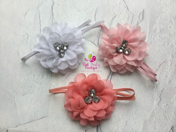 Set of 3 Baby Headbands - Spring photo shoot, Baby girl Headbands - Baby Shower Gift - Infant Headbands - Flower Headbands