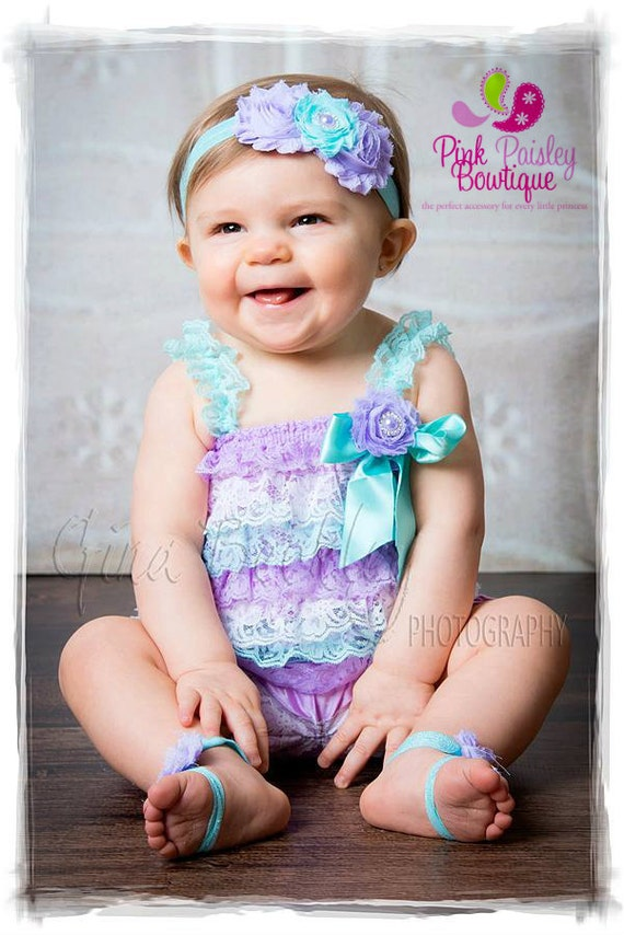 Cake Smash Outfit -  Aqua & Lavender Petti Romper - Baby Girl Rompers , 1st Birthday Outfit - Baby Girl Birthday Dress