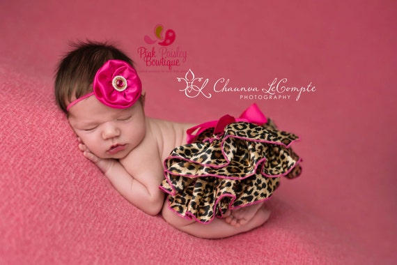 Newborn photo outfit, baby bloomers, ruffle diaper cover, cheetah outfit, hot pink baby outfit, baby girl newborn photos, cake smash outfit