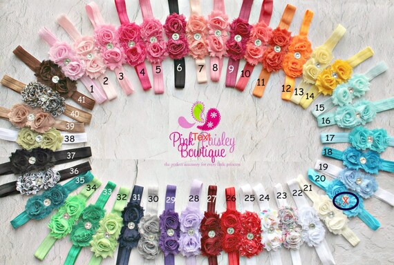 Baby Headband Set - You Pick 2 Mini Shabby Bows - Newborh Headbands- Baby Girl Headbands - Infant Headband -Baby Hair Accessories - Hairbows