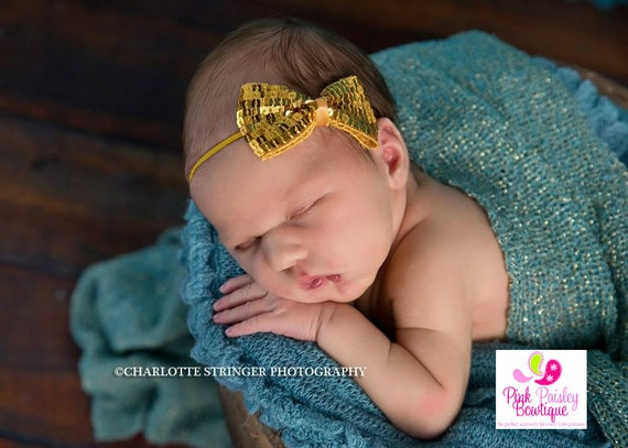 Baby Headbands - Gold Headband - Gold 1st Birthday - Baby Girl Headbands - Wedding Baby Hair Accessories - Baby Hairbows - Gold Baby Bows