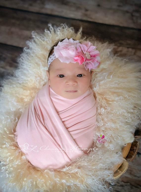 Pink Baby Headband. Baby Shower Gift. Newborn Hair Bows. Baby hair accessories. Baby Hairbows, Pink Baby Bows