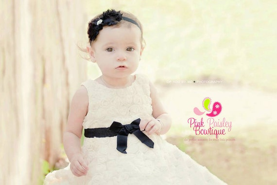 Black Baby Headband - Baby Girl Headbands - Newborn headbands - Black Baby Hairbows - Shabby Headbands - Shabby Flowers
