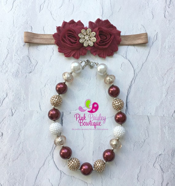 Fall color necklace and headband set,  Baby Headband & Necklace set, Bubblegum Necklace set, X'mas celebration set