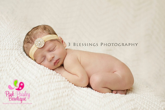 Gold Baby Headbands - Gold Infant Headband - Baby Girl Headbands- Newborn Headband -Hair Accessories-- Gold Hair Bows - Flower Girl Headband