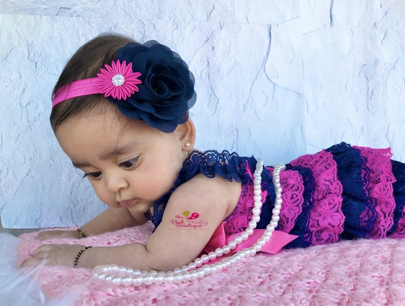 Navy& Pink petti lace romper and headband 2 PC  SET, Baby girl 1st birthday outfit, Nautical Birthday, Whale Baby romper, Cake Smash Outfit