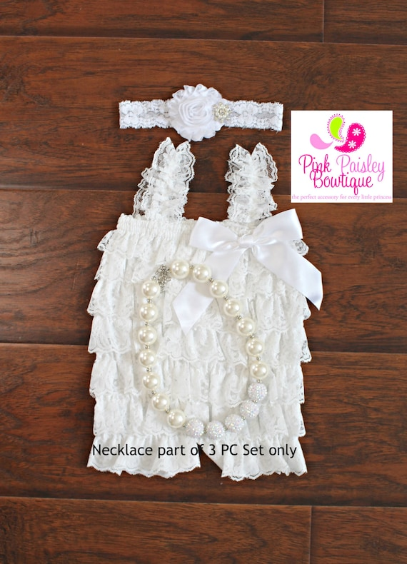 Baptism Outfit - 2 or 3 pc SET- White Baby Outfit - Baby Girl Rompers - Christening Dress - White Baptism Dress - Baptism Baby Outfit