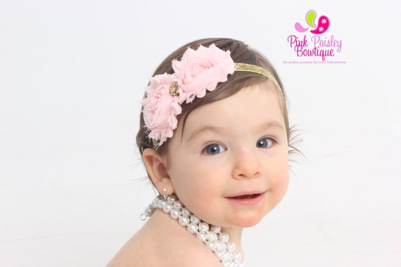 Pink & Gold 1st Birthday, Gold Baby Headband, Pink and Gold 1st Birthday Bow, Sparkle Baby Headband, Pink Baby Bows, Baby Girl Hair Bows